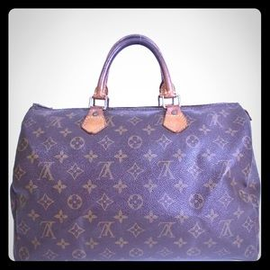 Auth Louis Vuitton Speedy 35 Vintage Satchel Bag